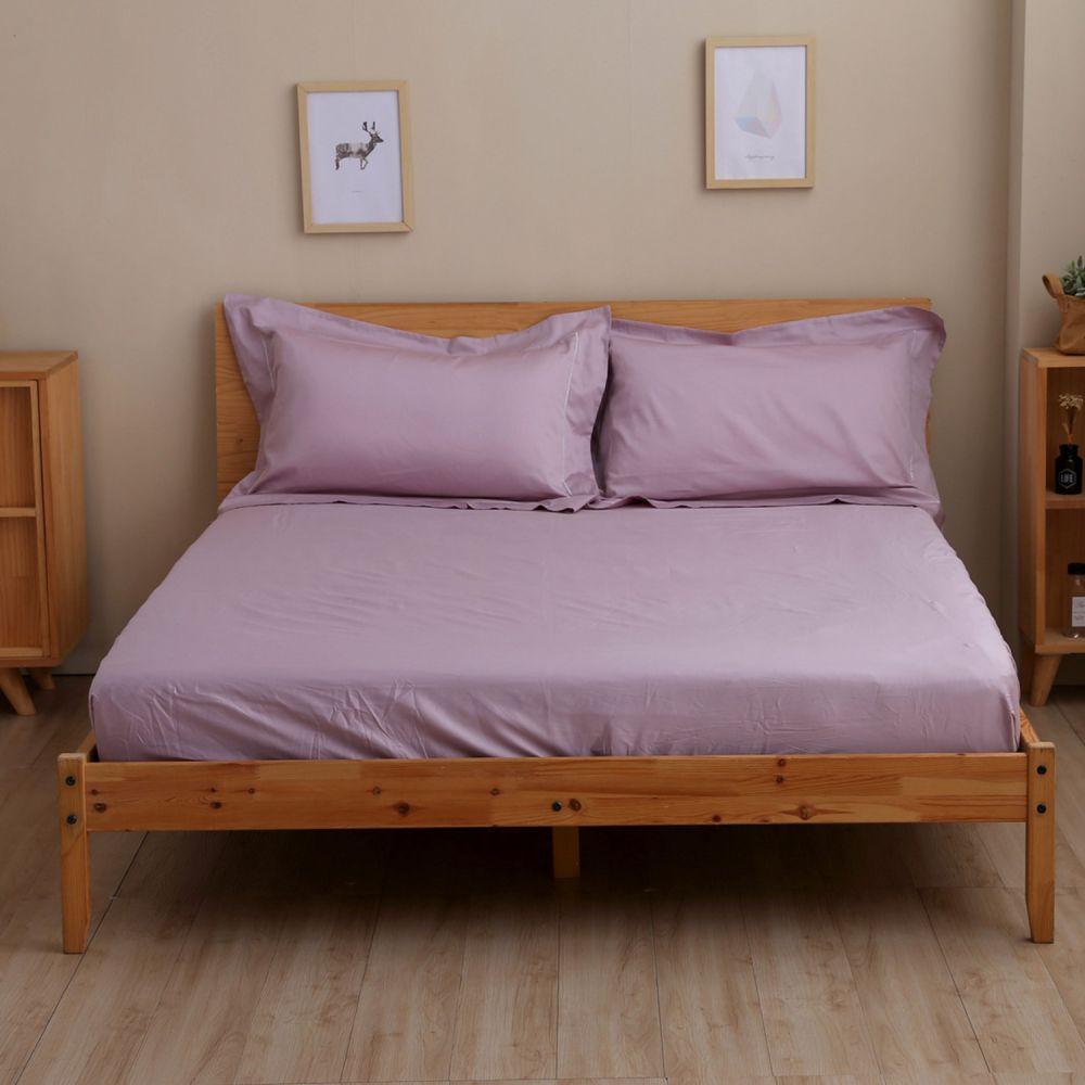 60支純棉刺繡床包+枕套組─雙人特大