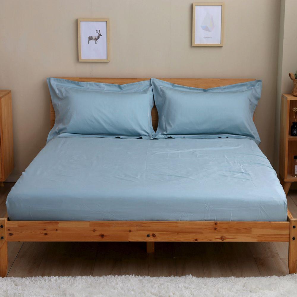 60支純棉刺繡床包+枕套組─單人